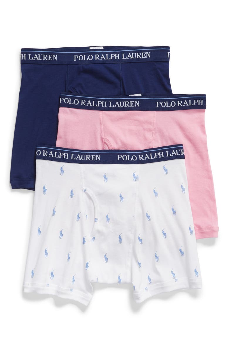 POLO RALPH LAUREN 3-Pack Boxer Briefs, Main, color, WHITE/ HARBOR PINK/ ROYAL