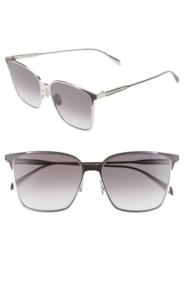 ALEXANDER MCQUEEN 57mm Square Sunglasses, Main, color, SHINY SILVER/ BLACK
