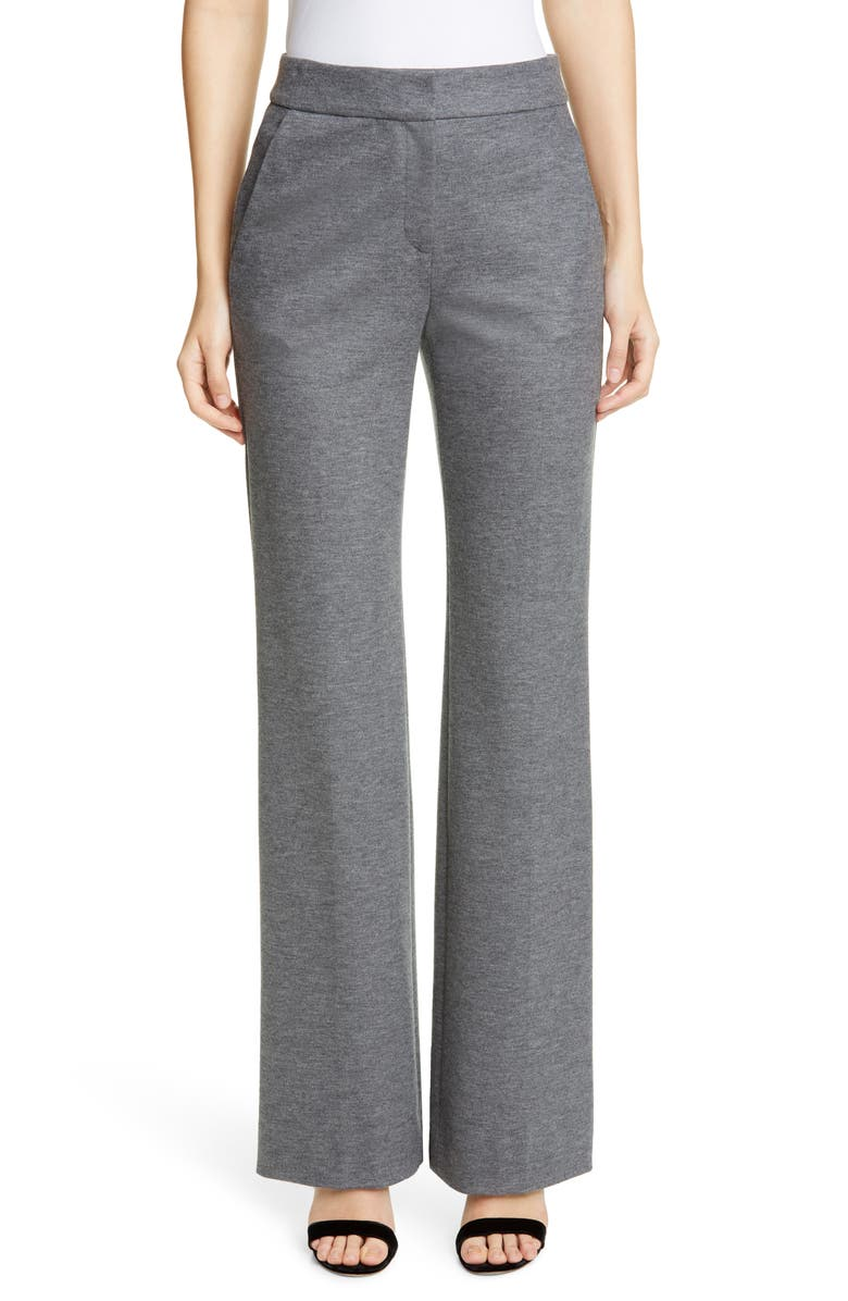 ST. JOHN COLLECTION Emma Flare Leg Mélange Jersey Pants, Main, color, GREY MELANGE