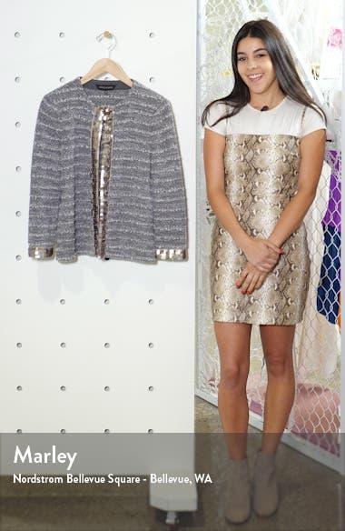Sequin Trim Bouclè Tweed Jacket, sales video thumbnail