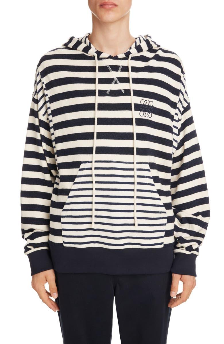 LOEWE Anagram Embroidered Stripe Cotton Hoodie, Main, color, ECRU/ NAVY BLUE