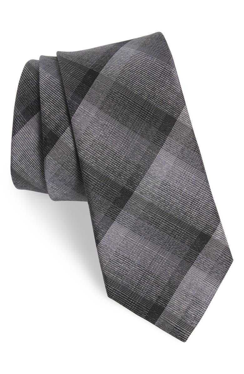 NORDSTROM MEN'S SHOP Seeley Plaid Silk & Cotton Tie, Main, color, 001