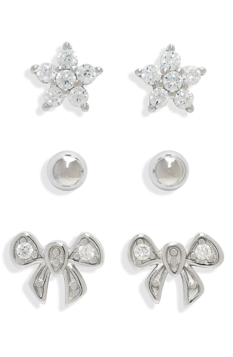 CHARM IT!<SUP>®</SUP> 3-Pack Classic Sterling Silver Earrings, Main, color, SILVER