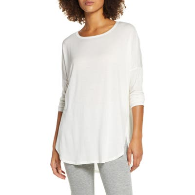 Groceries Apparel Karly Long Sleeve Curved Hem Tee, White
