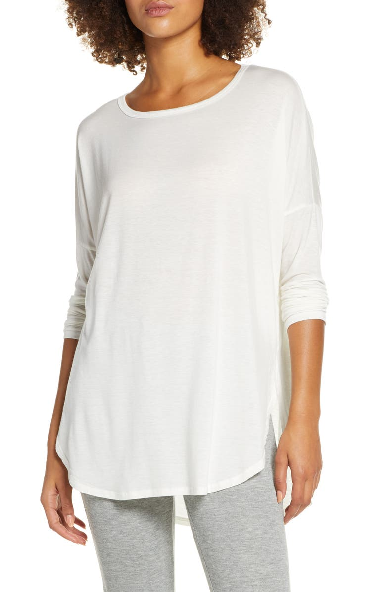 GROCERIES APPAREL Karly Long Sleeve Curved Hem Tee, Main, color, WHITE