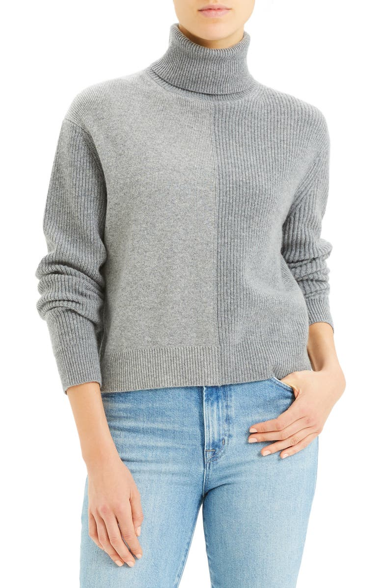 THEORY Colorblock Cashmere Turtleneck Sweater, Main, color, SLATE HEATHER MULTI