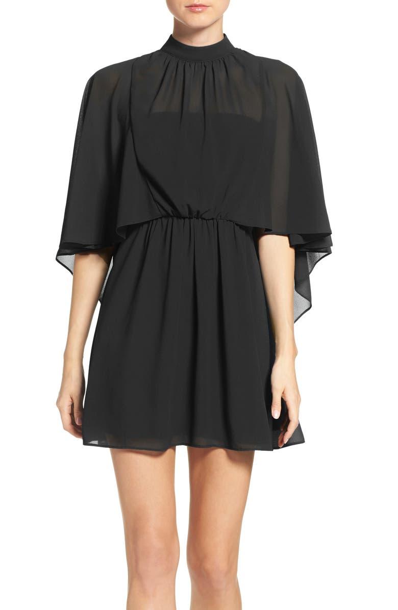 ALI & JAY Chiffon Cape Dress, Main, color, 001