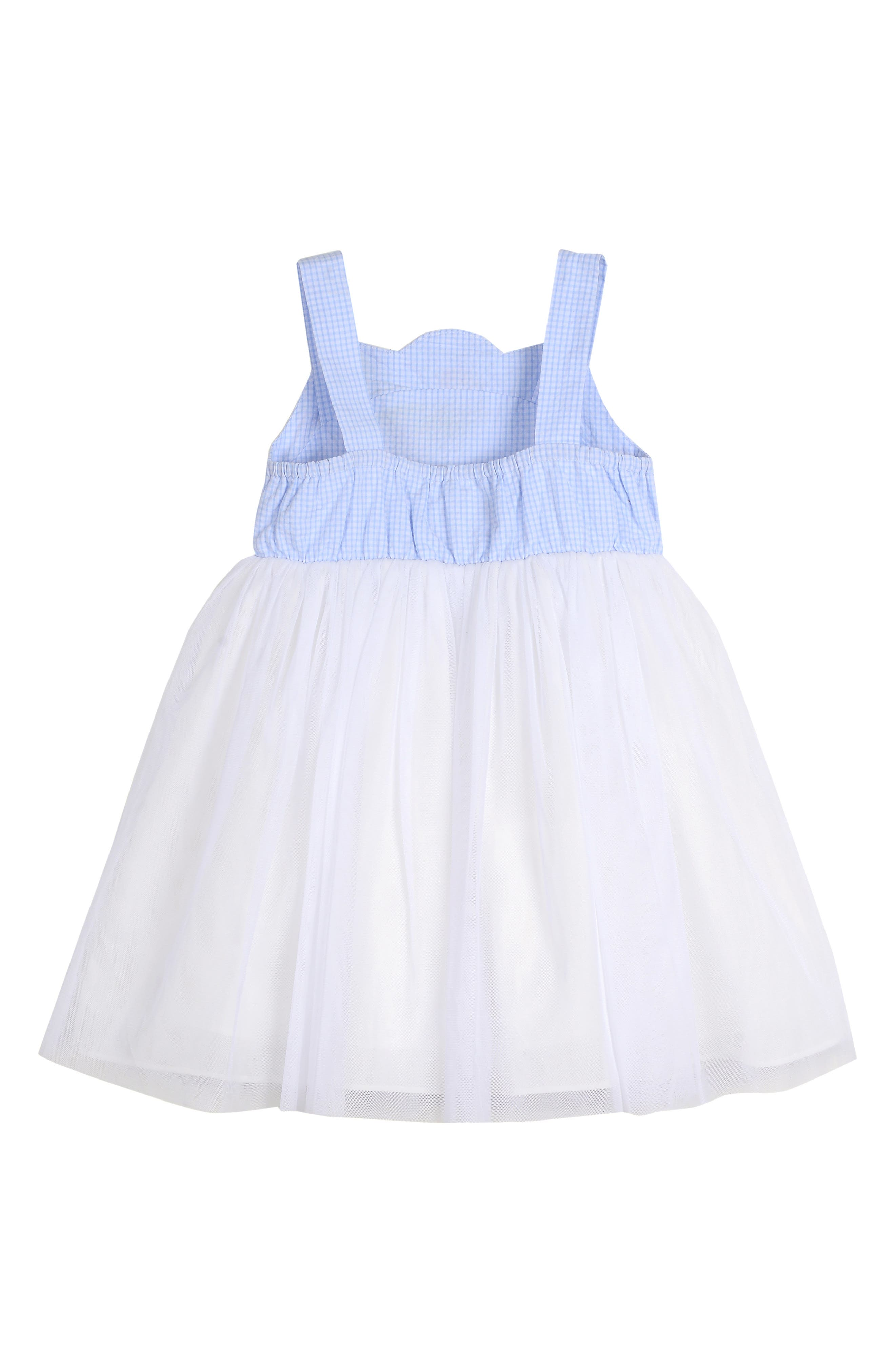 ,                             Embroidered Gingham & Tulle Dress,                             Alternate thumbnail 2, color,                             BLUE/ WHITE