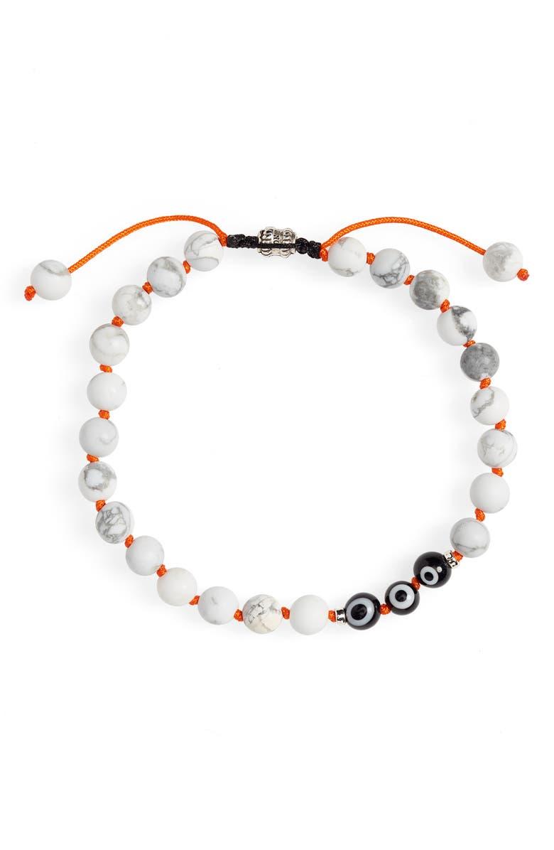JONAS STUDIO Hand Knotted Howlite Bead Bracelet, Main, color, WHITE/ ORANGE