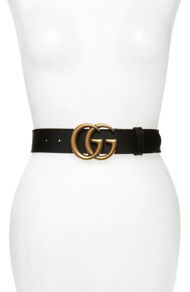 GUCCI GG Logo Leather Belt, Main, color, BLACK