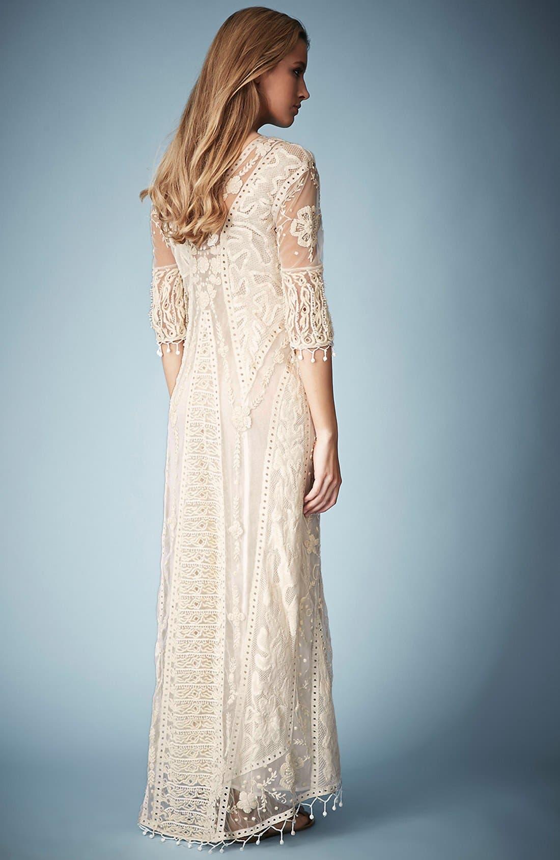 ,                             Kate Moss for Topshop Crochet Lace Maxi Dress,                             Alternate thumbnail 3, color,                             101