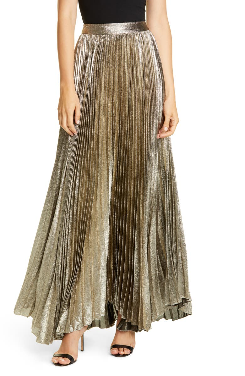 ALICE + OLIVIA Katz Pleated Maxi Skirt, Main, color, 040