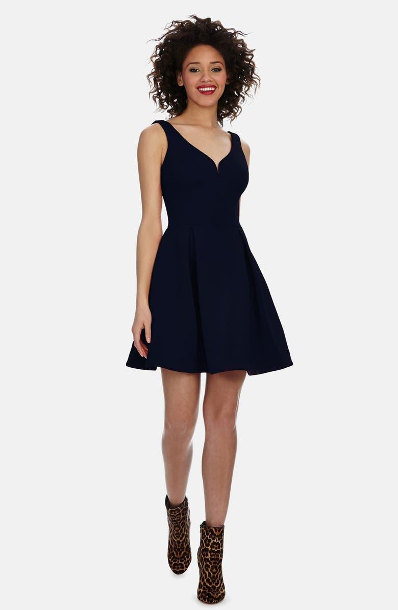 Donna Morgan V Neck Scuba Knit Fit Amp Flare Dress Nordstrom