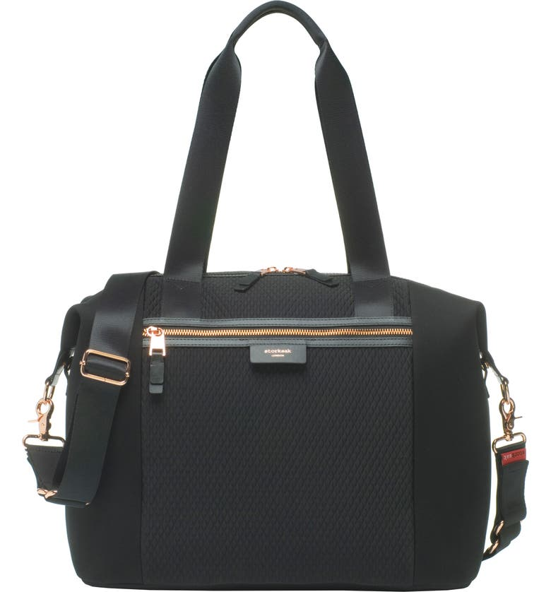 STORKSAK Stevie Lux Diaper Bag, Main, color, SCUBA BLACK
