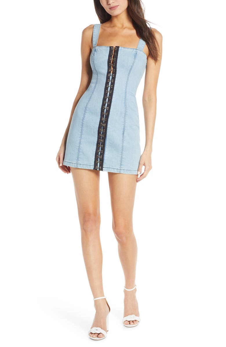 FINDERS KEEPERS Evelyn Denim Minidress, Main, color, WASHED BLUE