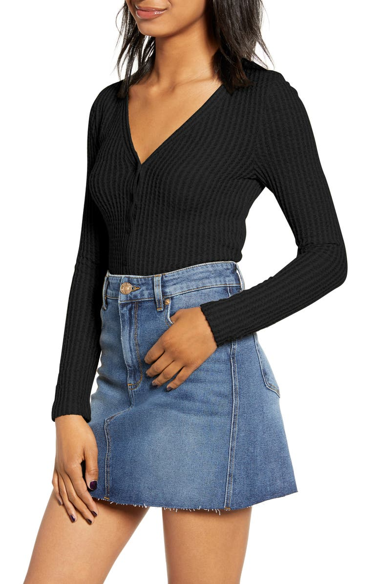 BP. Button Front Long Sleeve Crop Waffle Knit Top, Main, color, 001