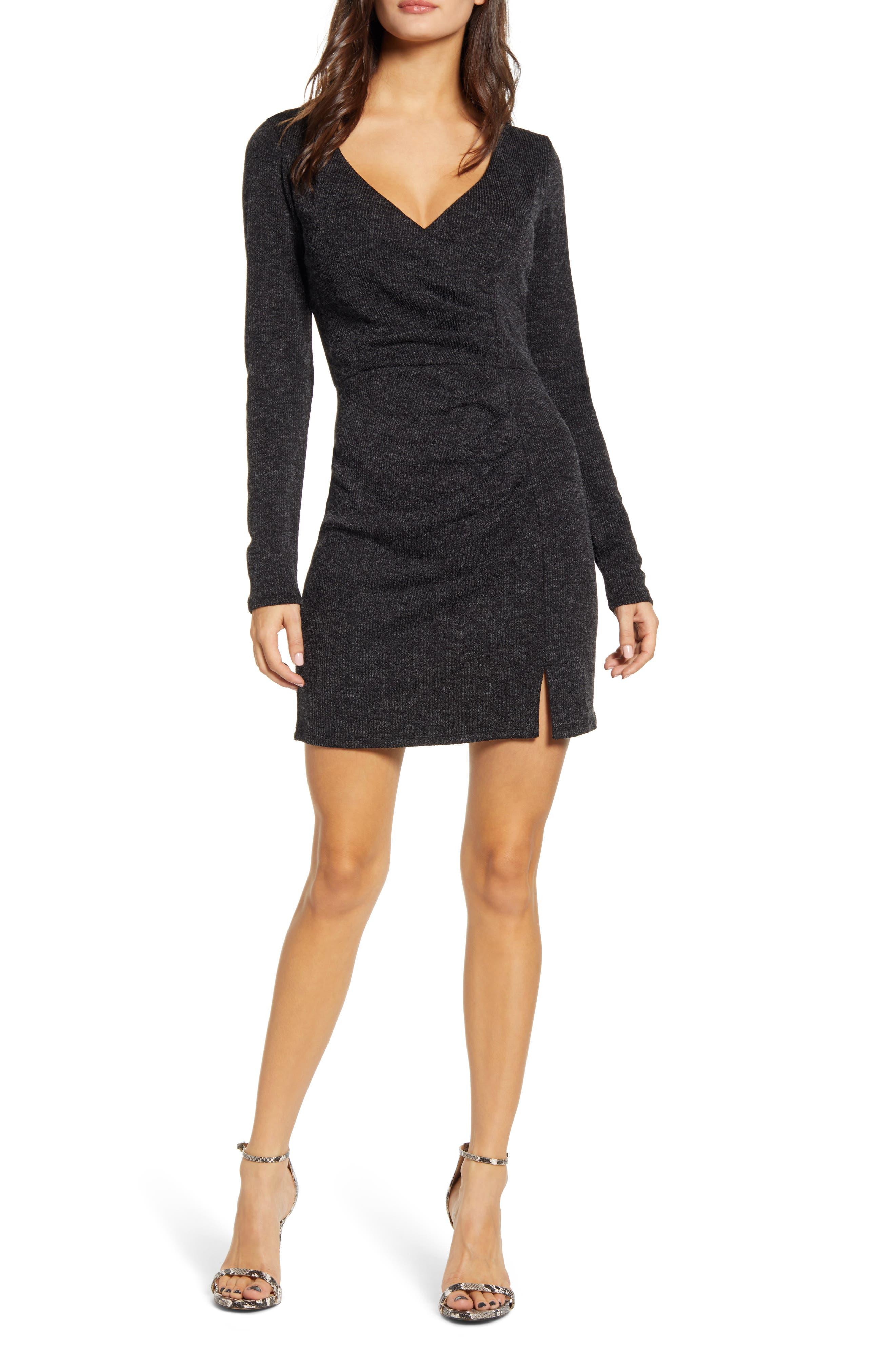 ROW A Long Sleeve Rib Knit Ruched Minidress