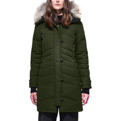 Canada Goose Lorette Hooded Down Parka With Genuine Coyote Fur Trim, (0) - Green