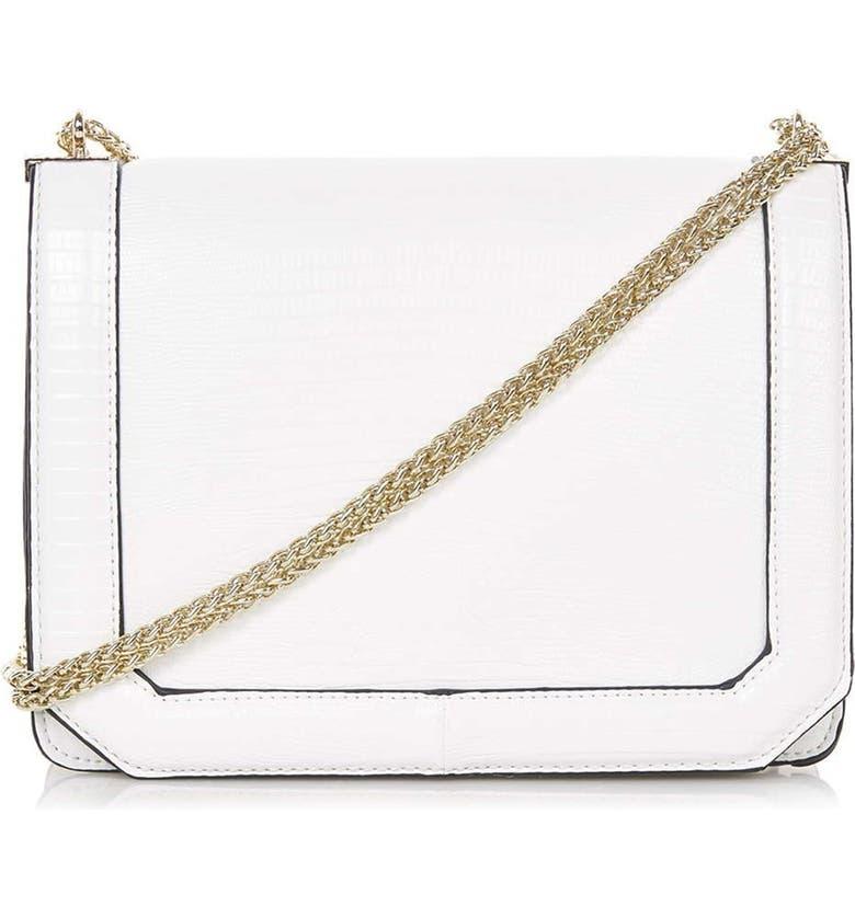 TOPSHOP 'Cannonbury' Faux Leather Crossbody Bag, Main, color, 100