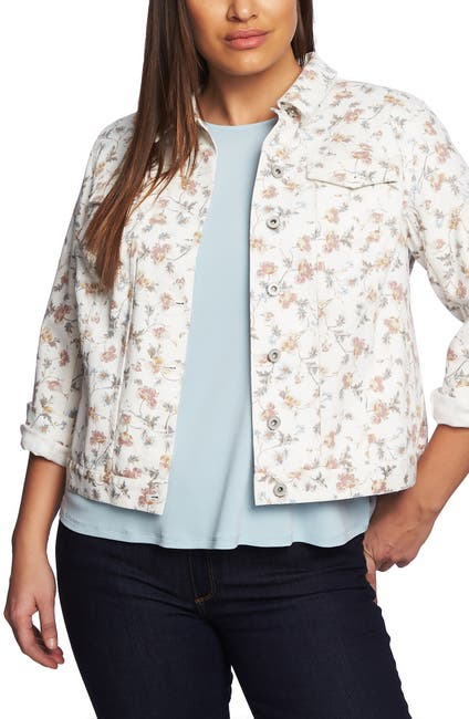 Image of CeCe by Cynthia Steffe Small Duchess Printed Denim Jacket