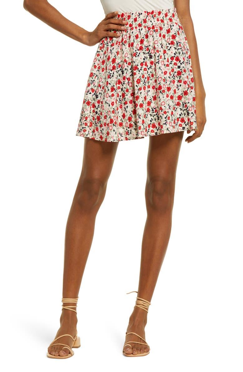 VERO MODA Simply Short Print Skater Skirt, Main, color, ALEXANDRA BIRCH FLORAL