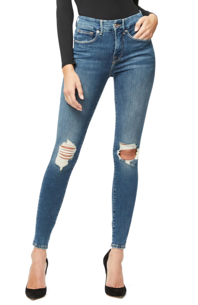 GOOD AMERICAN Good Legs Ripped High Waist Ankle Skinny Jeans, Main, color, 401