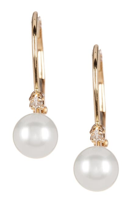 Image of Splendid Pearls 14K Yellow Gold Diamond Accented 5-5.5mm Cultured Freshwater Pearl Earrings