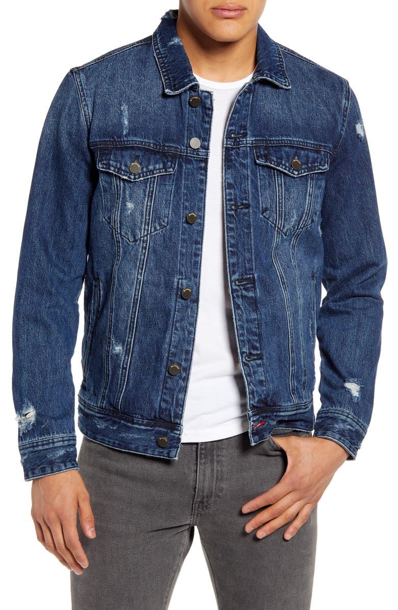 BLANKNYC Distressed Denim Trucker Jacket, Main, color, 428