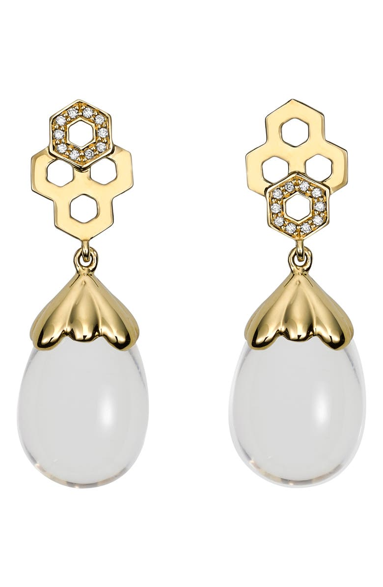 TEMPLE ST CLAIR Temple St. Clair Beehive Amulet Diamond Pavé Earrings, Main, color, YELLOW GOLD