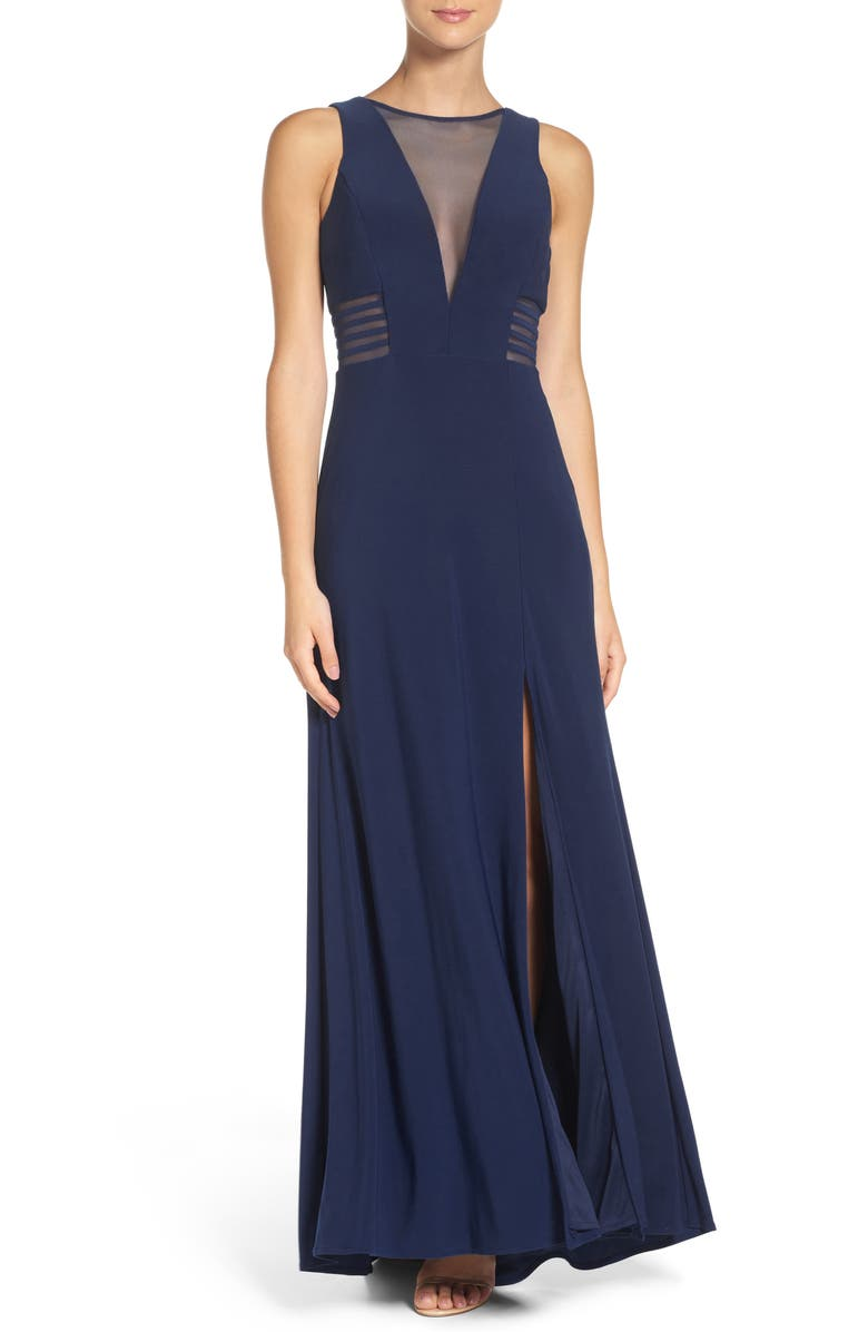 MORGAN & CO. Illusion Gown, Main, color, NAVY