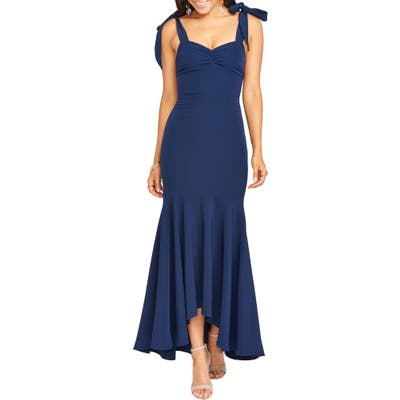Show Me Your Mumu Barcelona Stretch Crepe Trumpet Gown, Blue