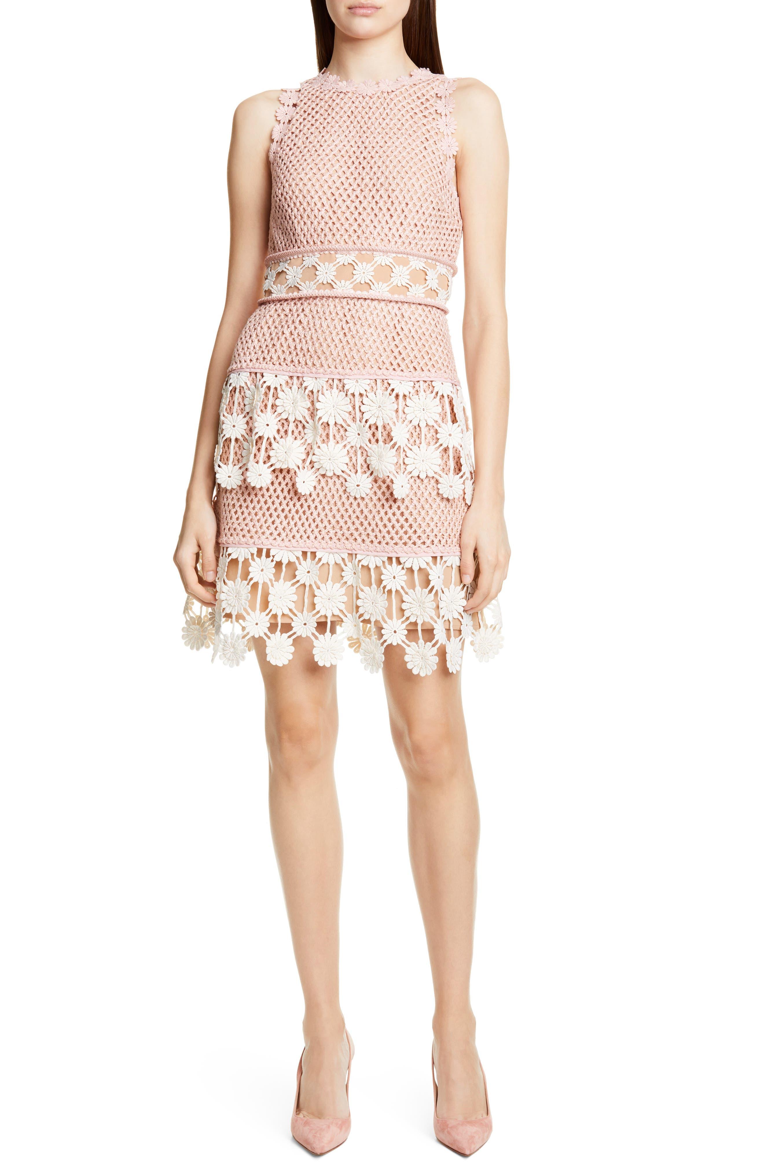 ,                             3D Floral Crochet Lace Minidress,                             Main thumbnail 1, color,                             PINK ECRU