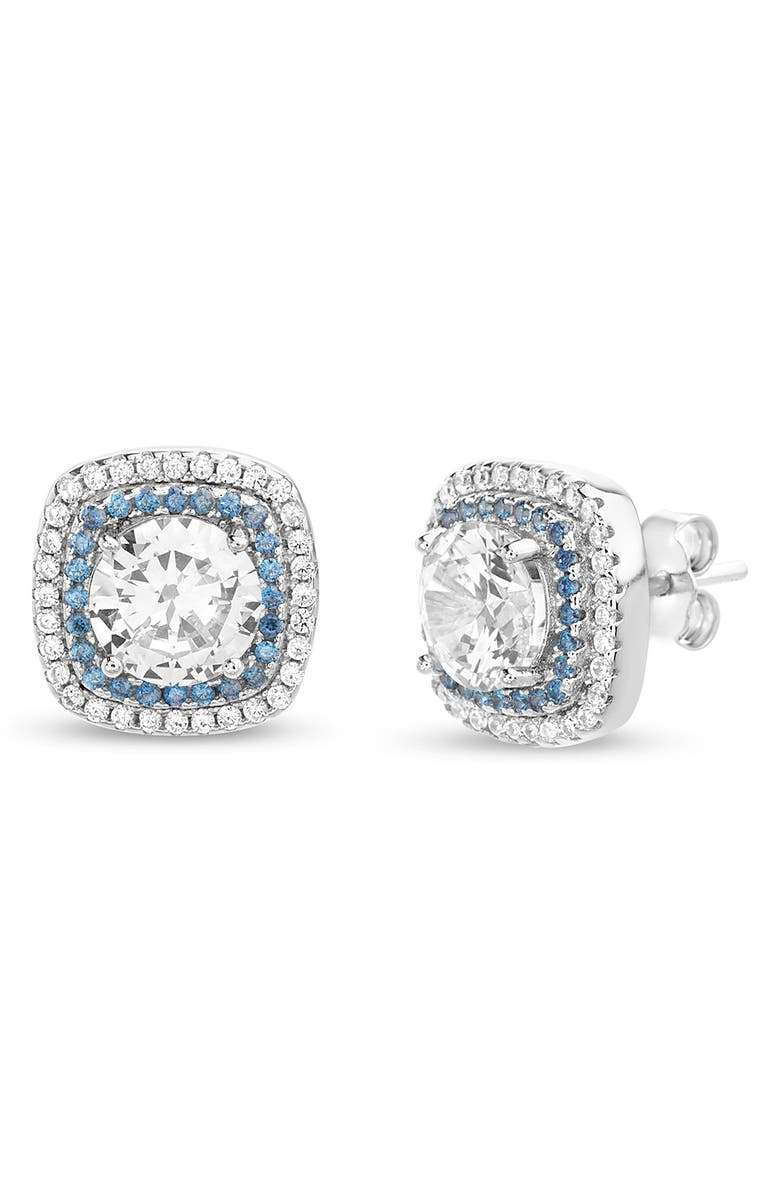 LESA MICHELE Cubic Zirconia Stud Earrings, Main, color, SILVER/ BLUE