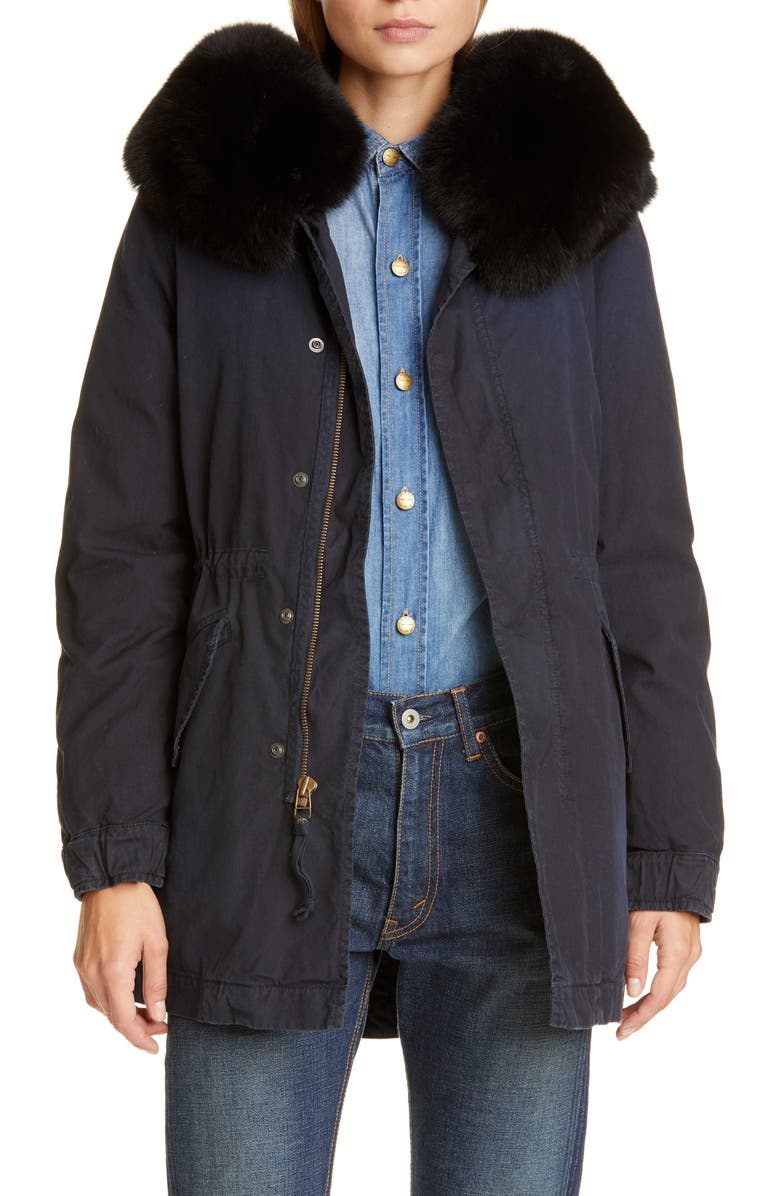 MR & MRS ITALY Hooded Cotton Parka with Removable Genuine Fox Fur Trim, Main, color, MIDNIGHT BLUE