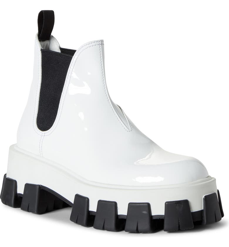 PRADA Lug Chelsea Rain Boot, Main, color, WHITE PATENT
