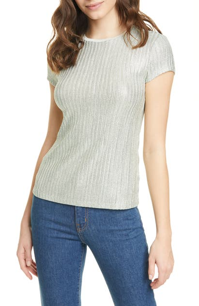 Ted Baker Catrino Metallic Stripe Fitted Tee In Mint