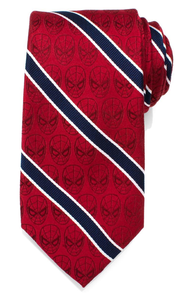 CUFFLINKS, INC. Spiderman Stripe Silk Tie, Main, color, RED