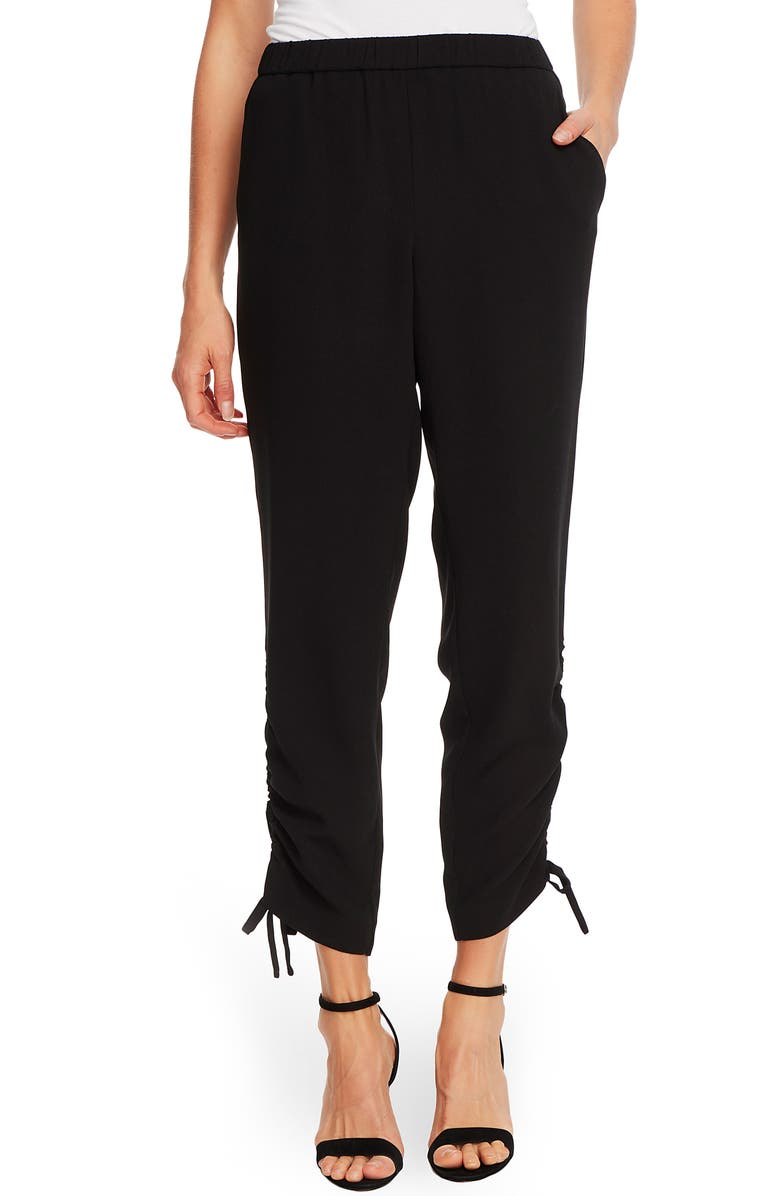 CECE Side Ruched Pants, Main, color, RICH BLACK