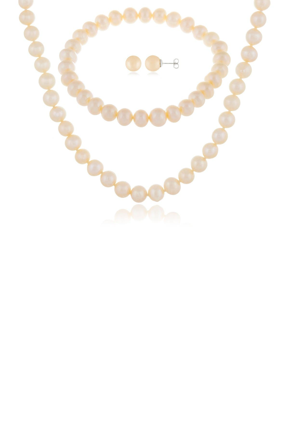 Image of Splendid Pearls 7-8mm Natural White Cultured Freshwater Pearl 3-Piece Earring Necklace & Bracelet Set
