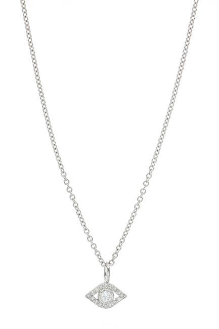 Image of Bony Levy BL Icons 18K White Gold Bezel & Pave Diamond Mini Evil Eye Pendant Necklace - 0.08 ctw