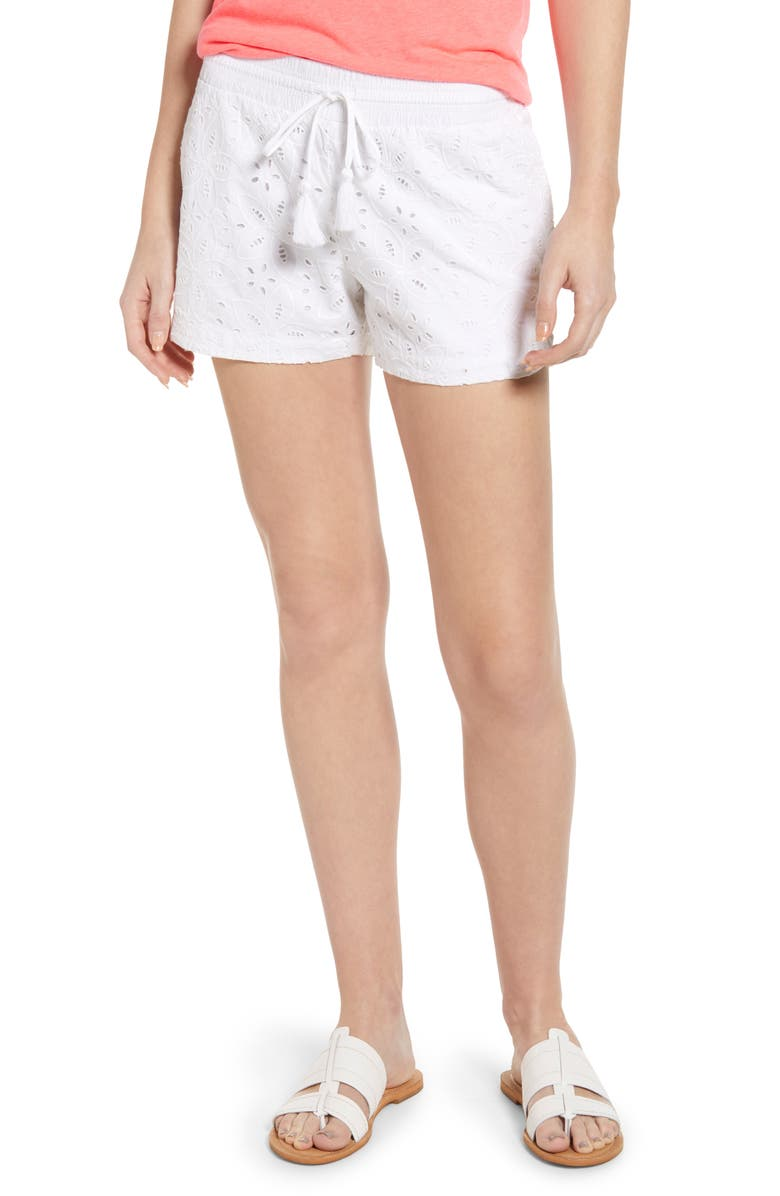 VINEYARD VINES Eyelet Pull-On Cotton Shorts, Main, color, 100