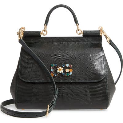 Dolce & gabbana Miss Sicily St. Iguana Top Handle Leather Satchel - Green