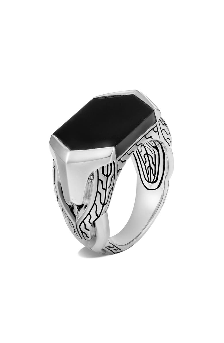 JOHN HARDY Men's Asli Classic Chain Signet Ring, Main, color, SILVER/ BLACK ONYX