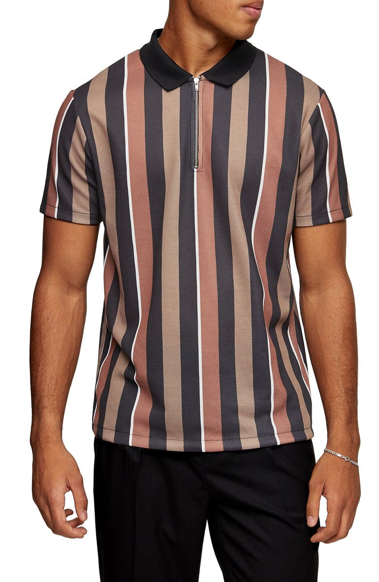 TOPMAN Slim Fit Stripe Zip Polo, Main, color, BROWN