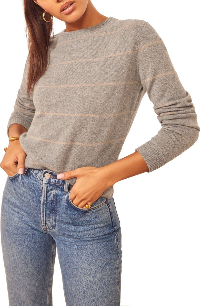 REFORMATION Cashmere Blend Sweater, Main, color, LONDON STRIPE