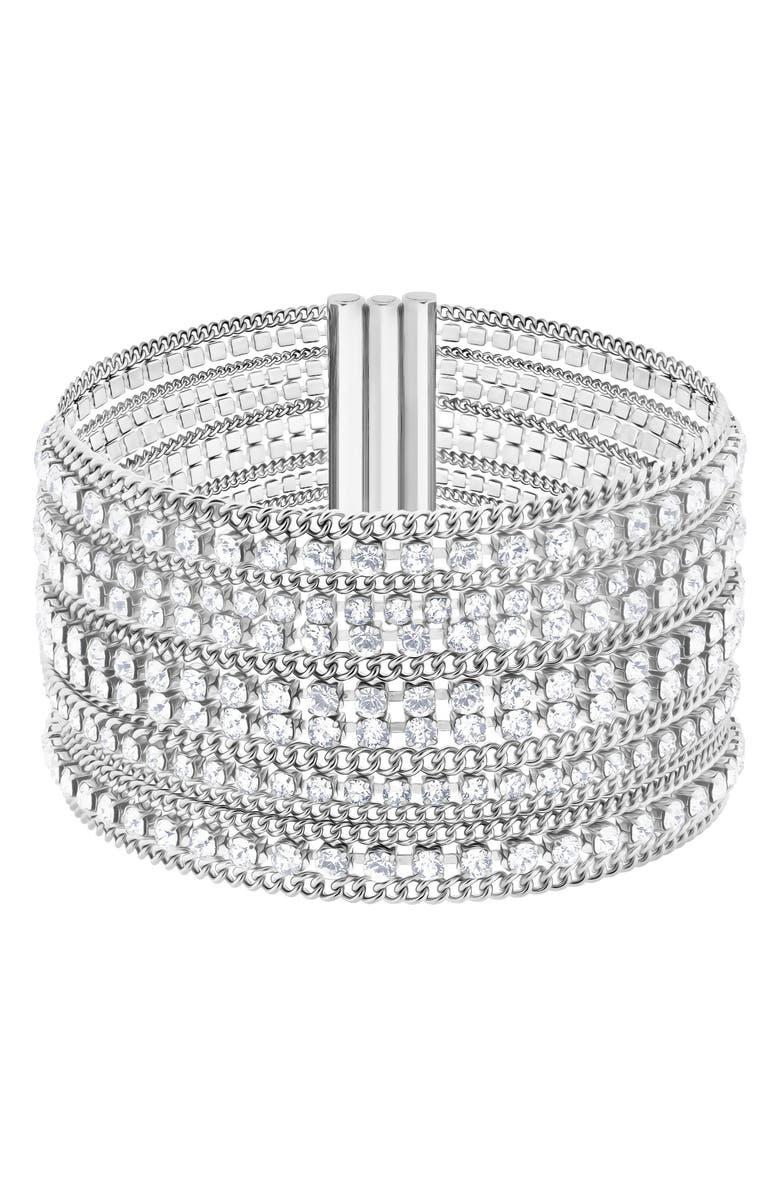 SWAROVSKI Crystal & Chain Cuff Bracelet, Main, color, WHITE