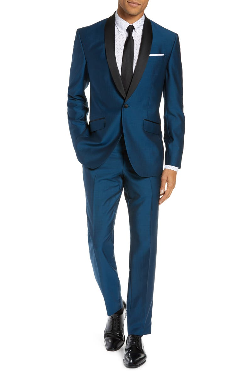 TED BAKER LONDON Josh Trim Fit Wool & Mohair Tuxedo, Main, color, TEAL