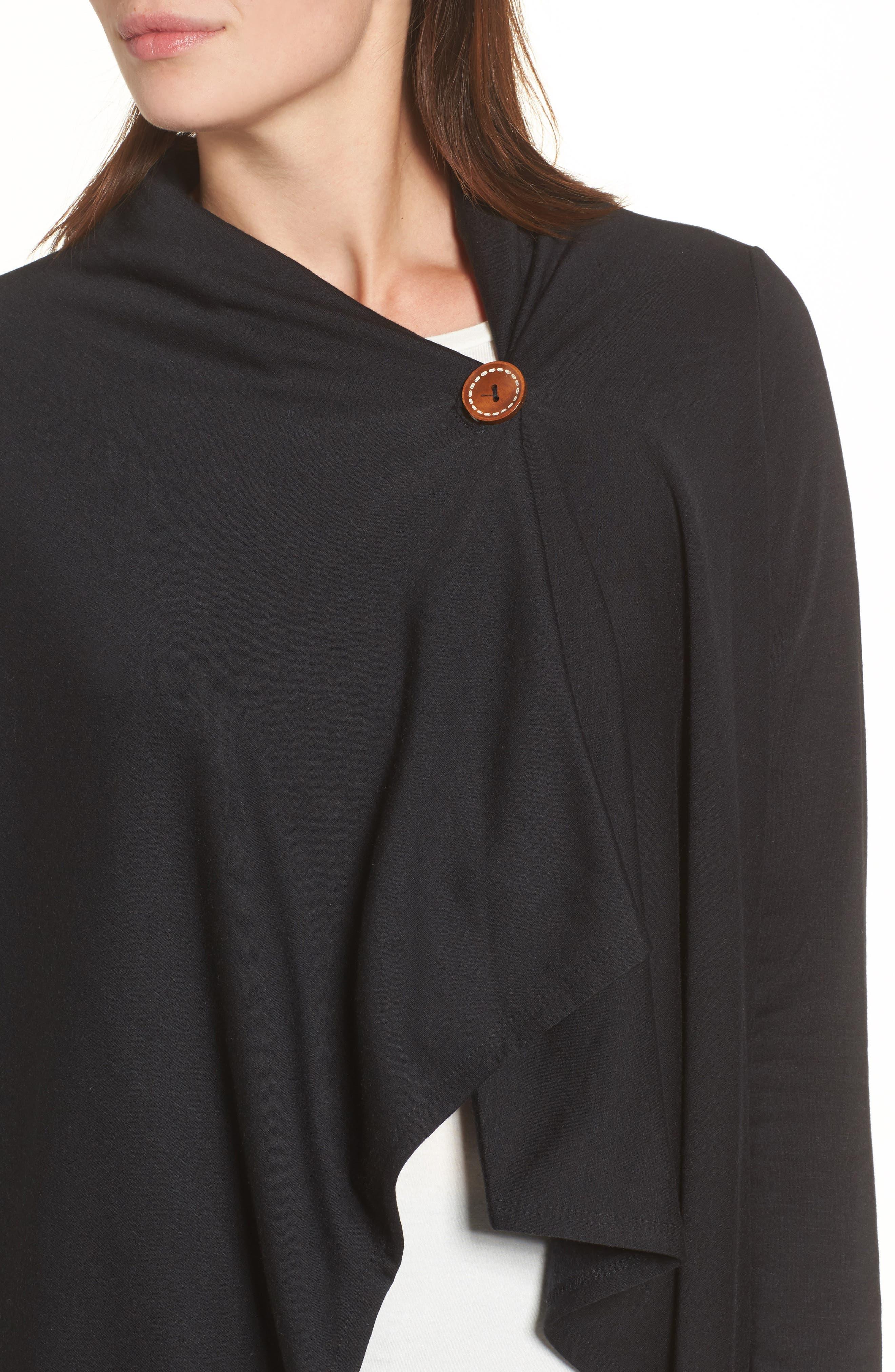 ,                             One-Button Fleece Wrap Cardigan,                             Alternate thumbnail 4, color,                             001