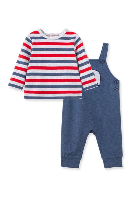 Image of Little Me Elephant Stripe Print Top & Overalls