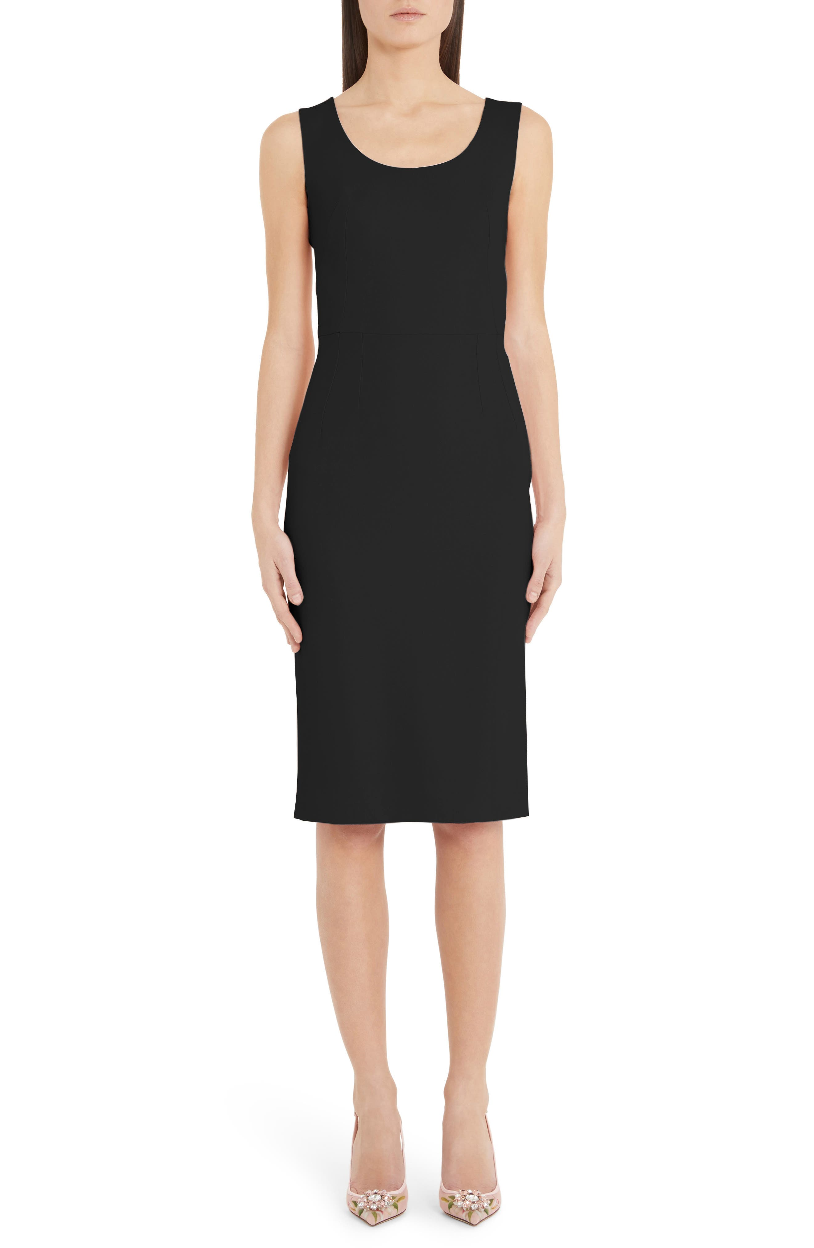 Dolce & gabbana Scoop Neck Sheath Dress, 8 IT - Black